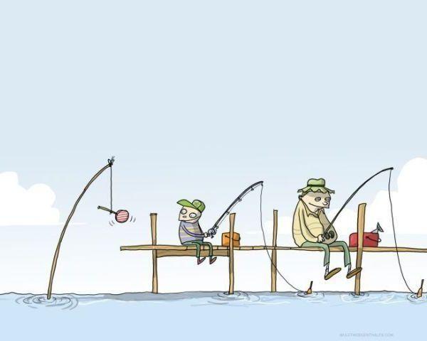 De vissen vissen ook