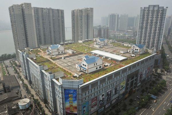 Een woonwijk op het dak