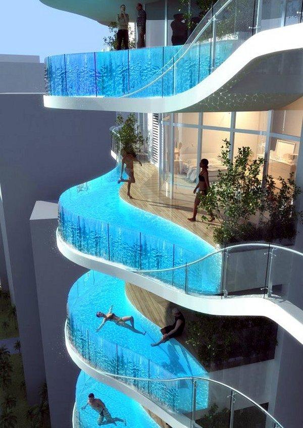 eigen zwembad op elk balkon grappige plaatjes. Black Bedroom Furniture Sets. Home Design Ideas