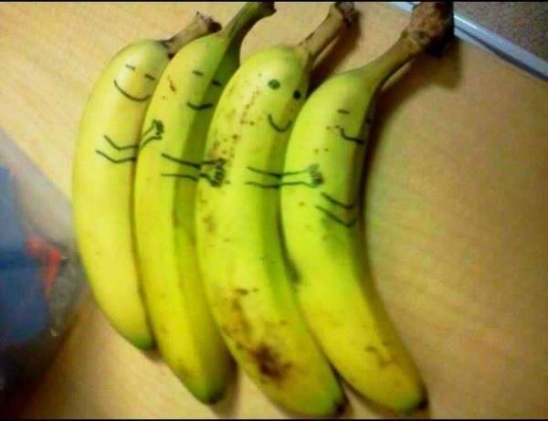 Knuffelende bananen