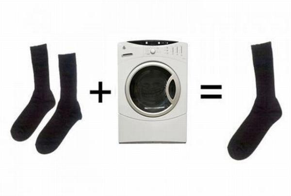 2 sokken + wasmachine = 1 sok